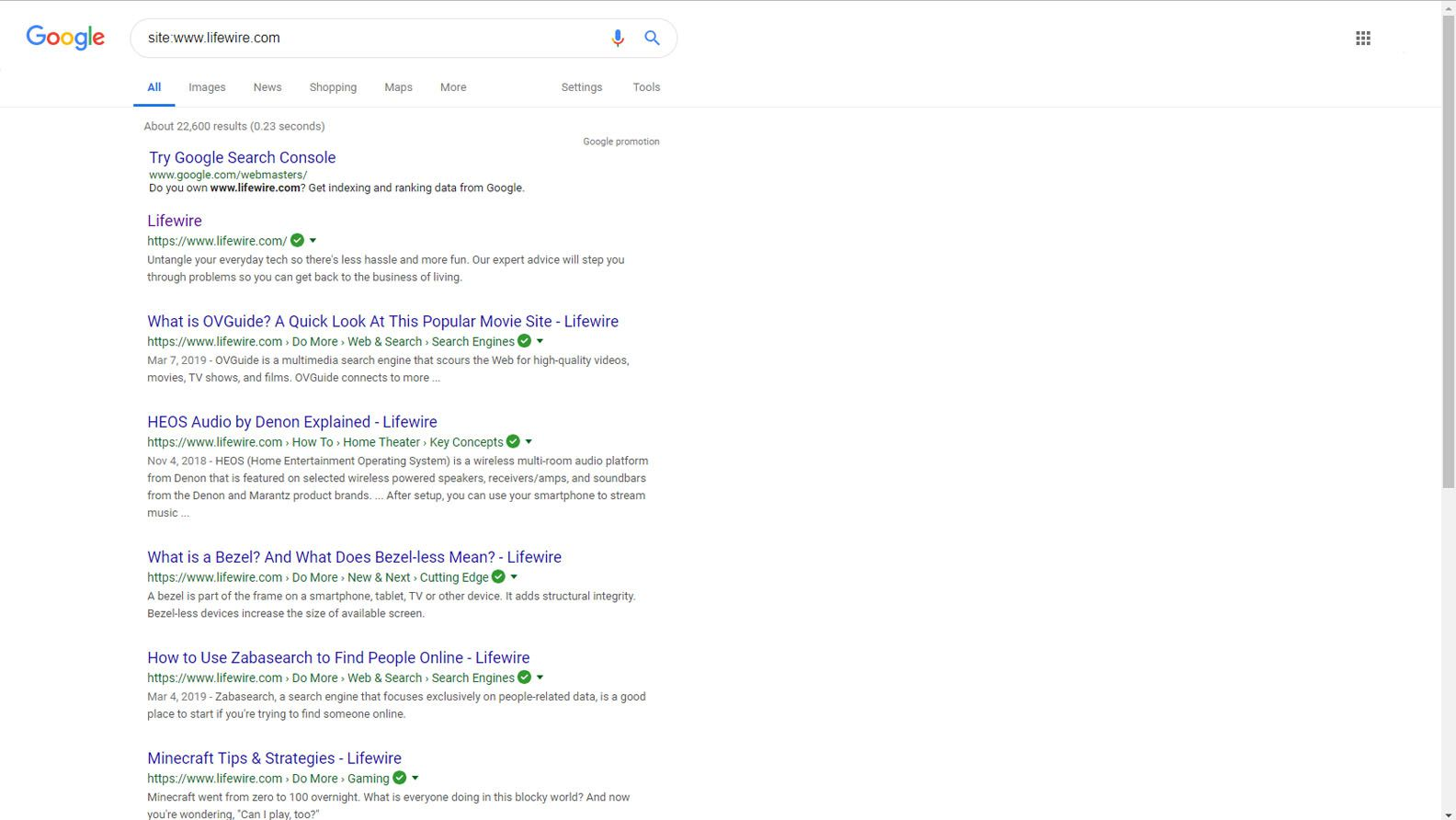 Google website page search
