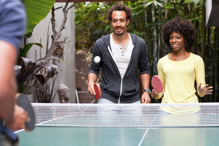Playing couples ping-pong