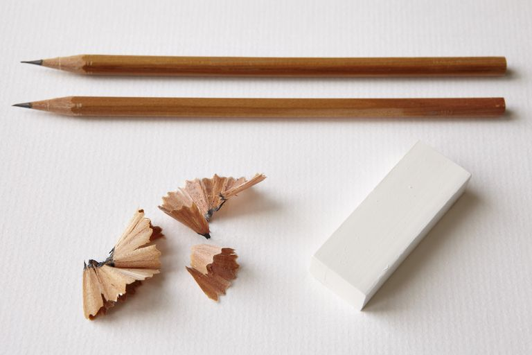 Pencils with eraser and shavings