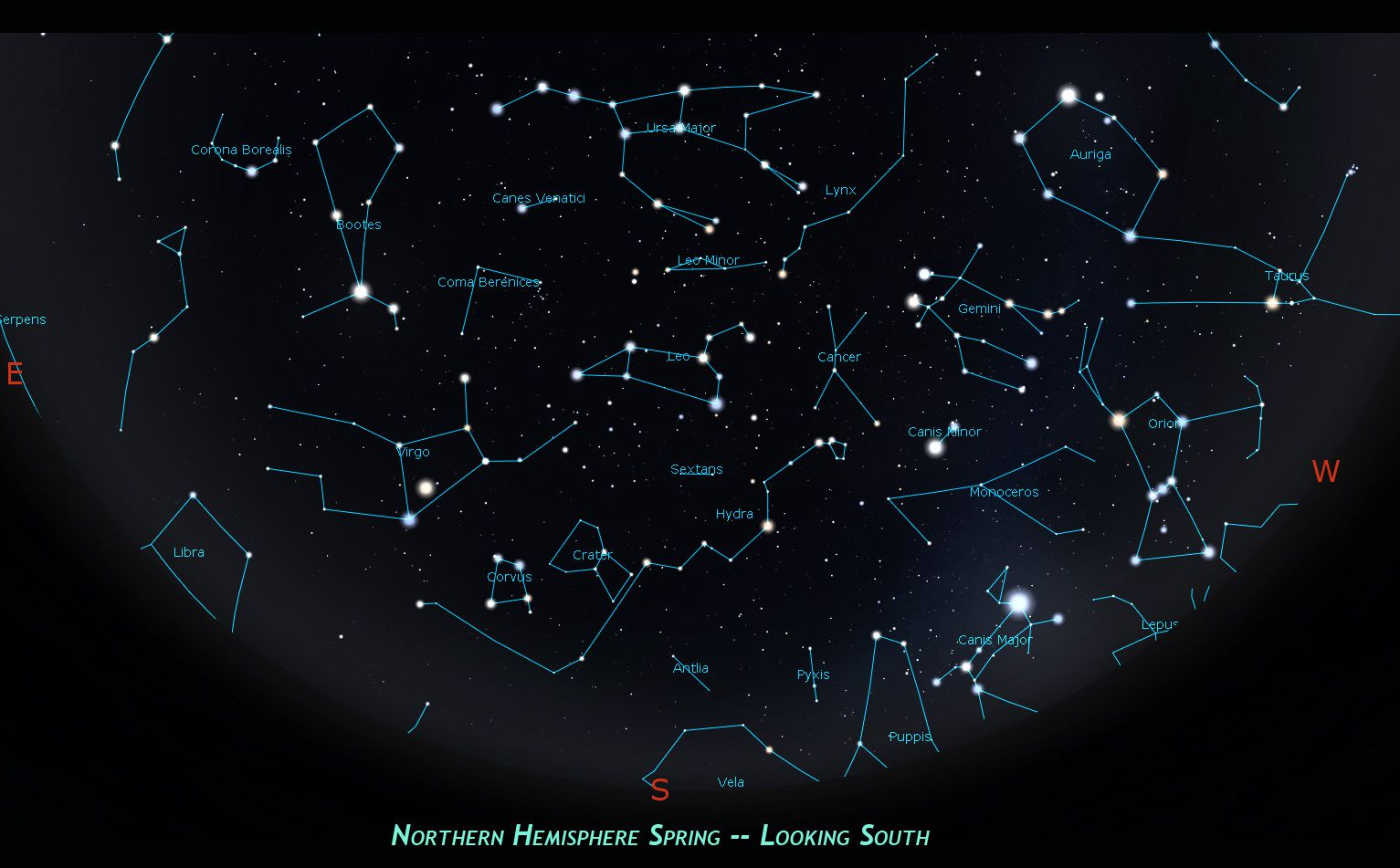 Northern Hemisphere spring skies and constellations, view to the south.