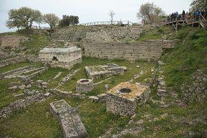People surveying the excavated Ruins of Troy (Hisarlik), Turkey