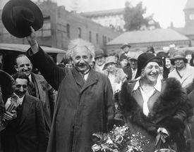 Albert Einstein and His Wife Leaving California