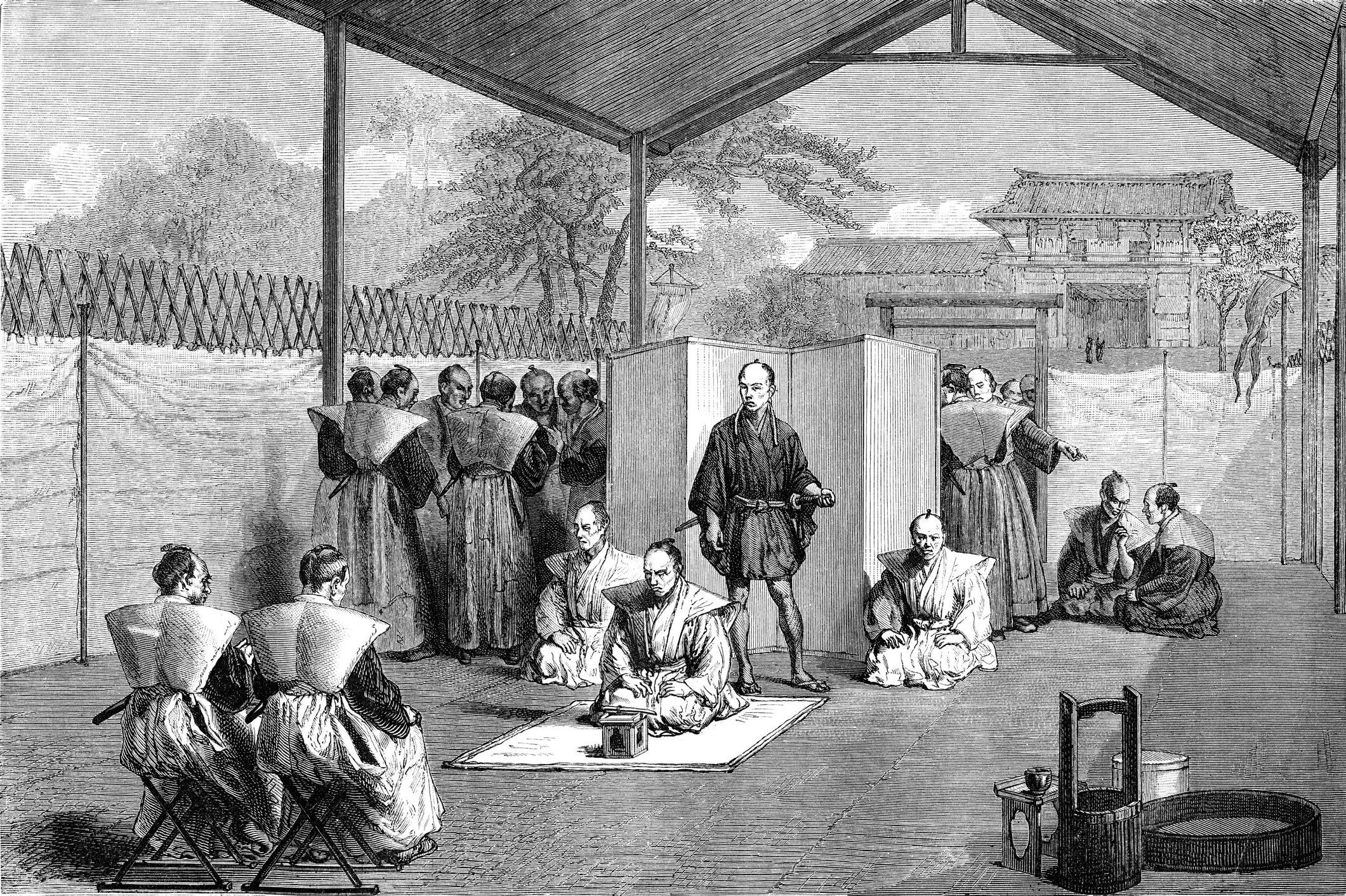 Illustration of samurai preparing for public ritual seppuku
