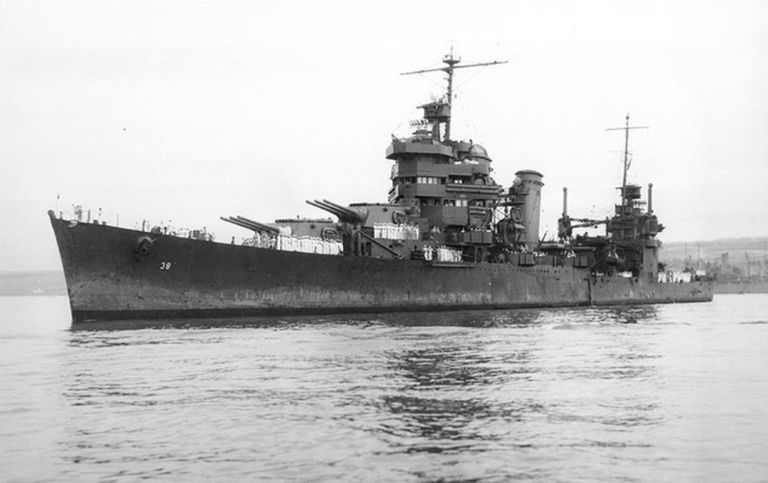 USS San Francisco, flagship of Rear Admiral Norman Scott at the Battle of Cape Esperance, October 11/12, 1942