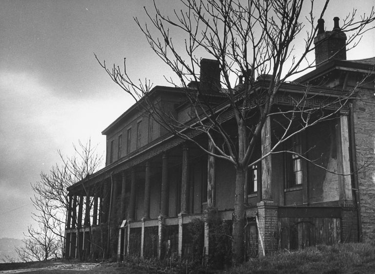 Exterior view of a supposedly haunted house once owned by Captain Edward Wyndam Schenley.