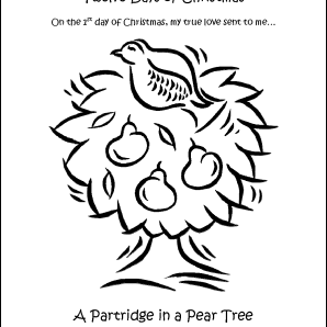 the first day of christmas coloring page