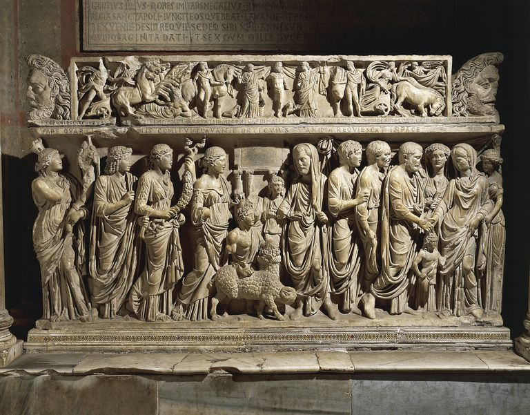 Roman marble sarcophagus with relief depicting marriage
