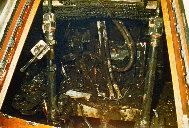 Fire-damaged Apollo 1 capsule