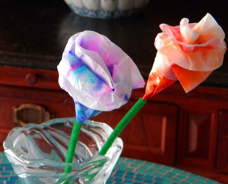 The completed water color flowers, in a vase