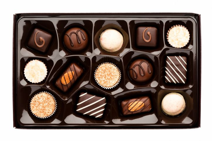Chocolate box full of assorted chocolates