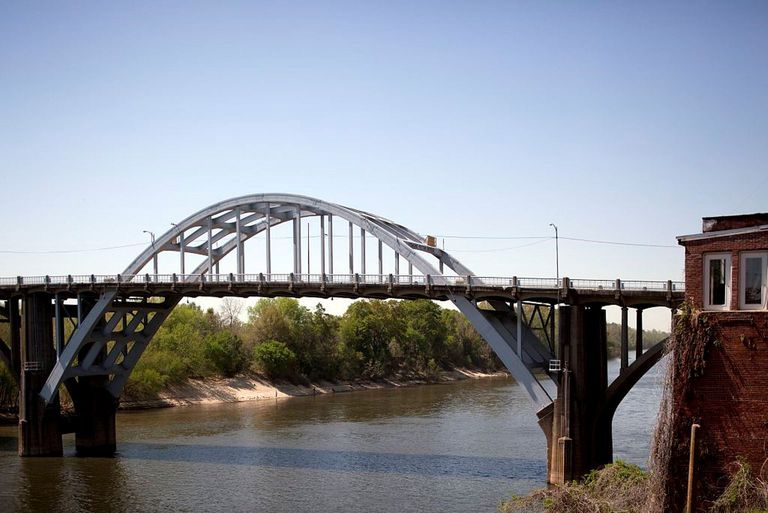 The Edmund Pettus Bridge in Selma, Alabama, a mile from Selma University