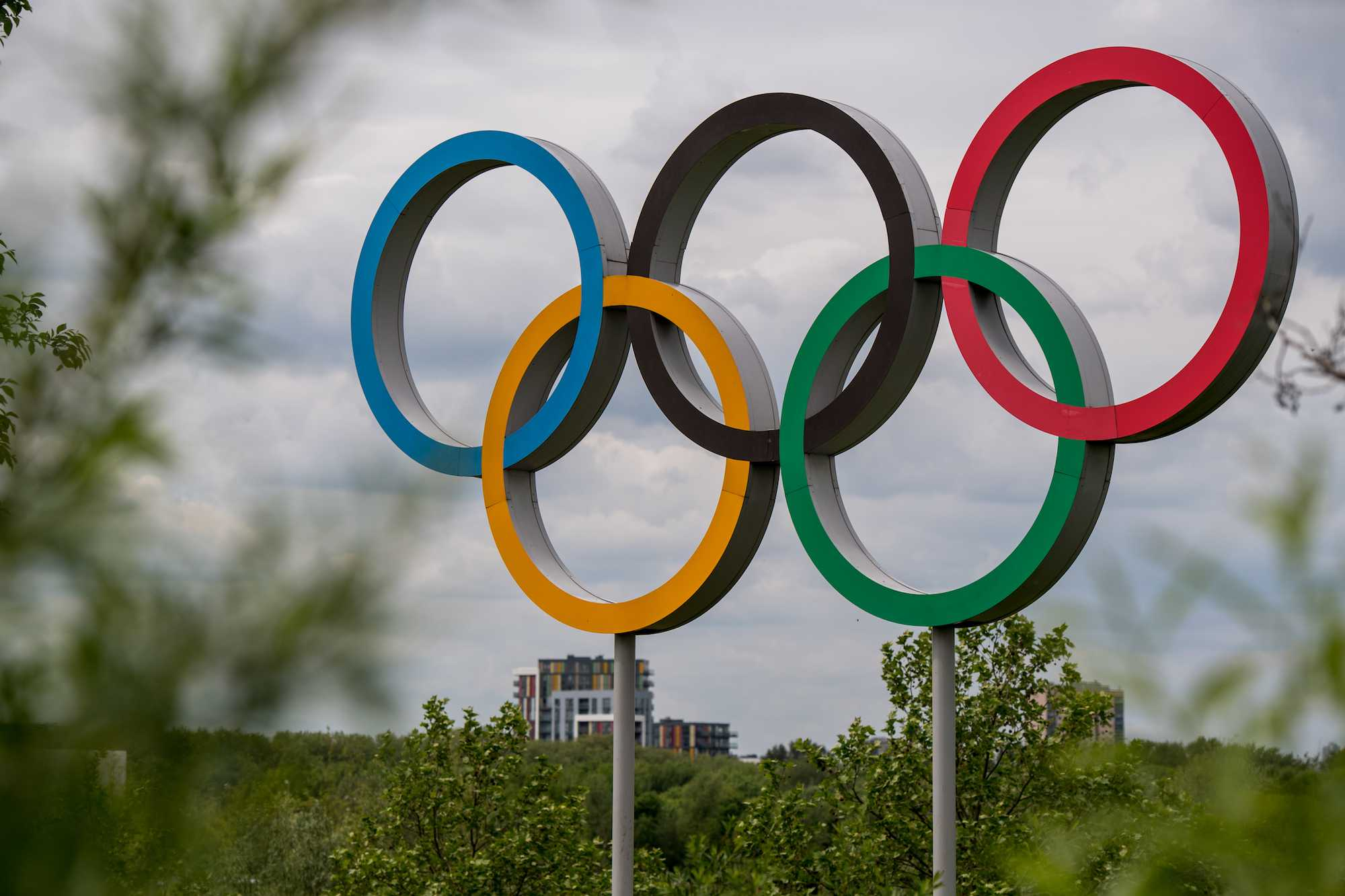 Olympic rings amid landscaping with a building in the background.