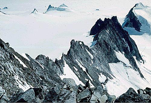 Ice-sharpened ridges