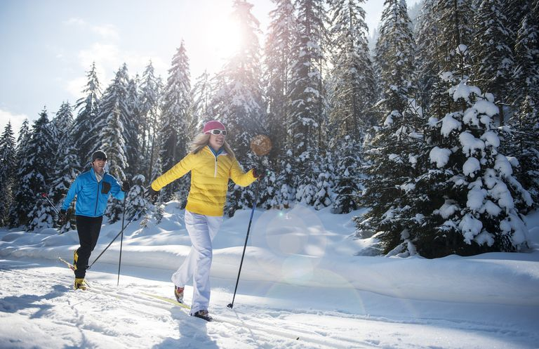 Young couple cross-country skiing