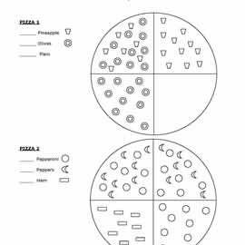 Pizza Fraction Worksheets