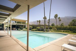 Grand Piano-shaped swimming pool at Twin Palms Estate (1947) in Palm Springs, CA, designed by E. Stewart Williams for Frank Sinatra