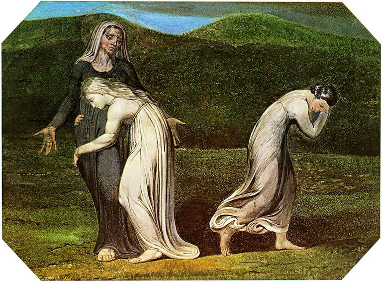 Naomi entreating Ruth and Orpah to return to the land of Moab by William Blake (1795).