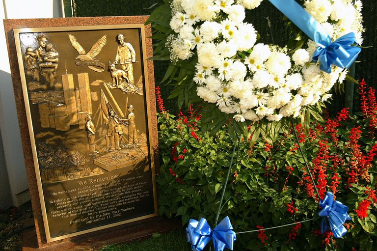 A wreath was placed by the monument for September 11, 2001 in monument park in Yankee Stadium before the MLB game between the New York Yankees and the Detroit Tigers on September 11, 2003 in the Bronx, New York