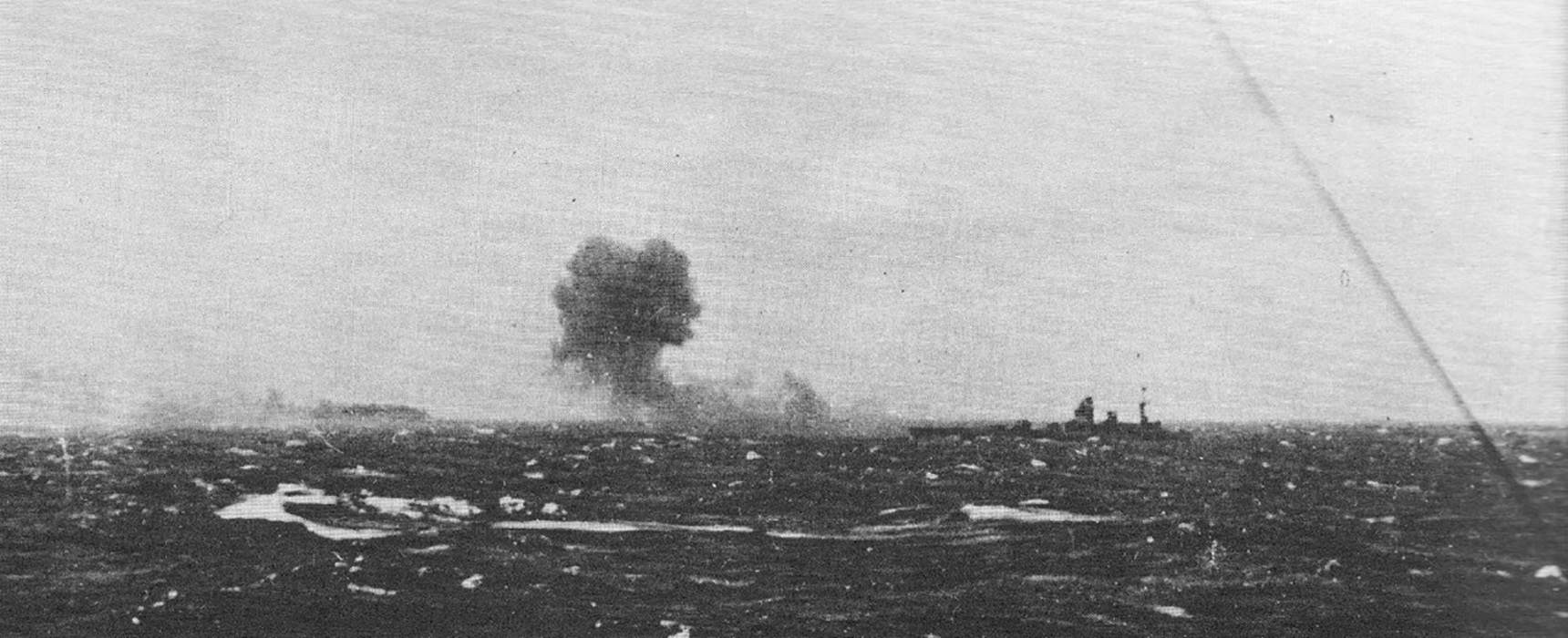 HMS Rodney fires on Bismarck, 1941