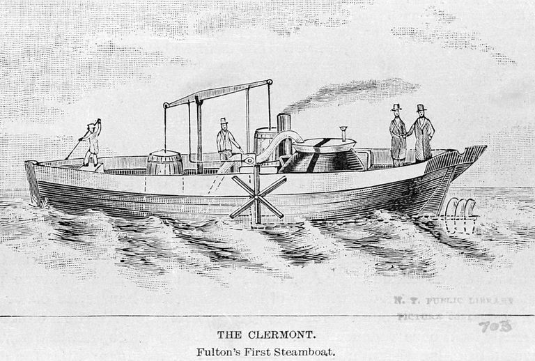 Illustration of Fulton's sidewheeler Clermont