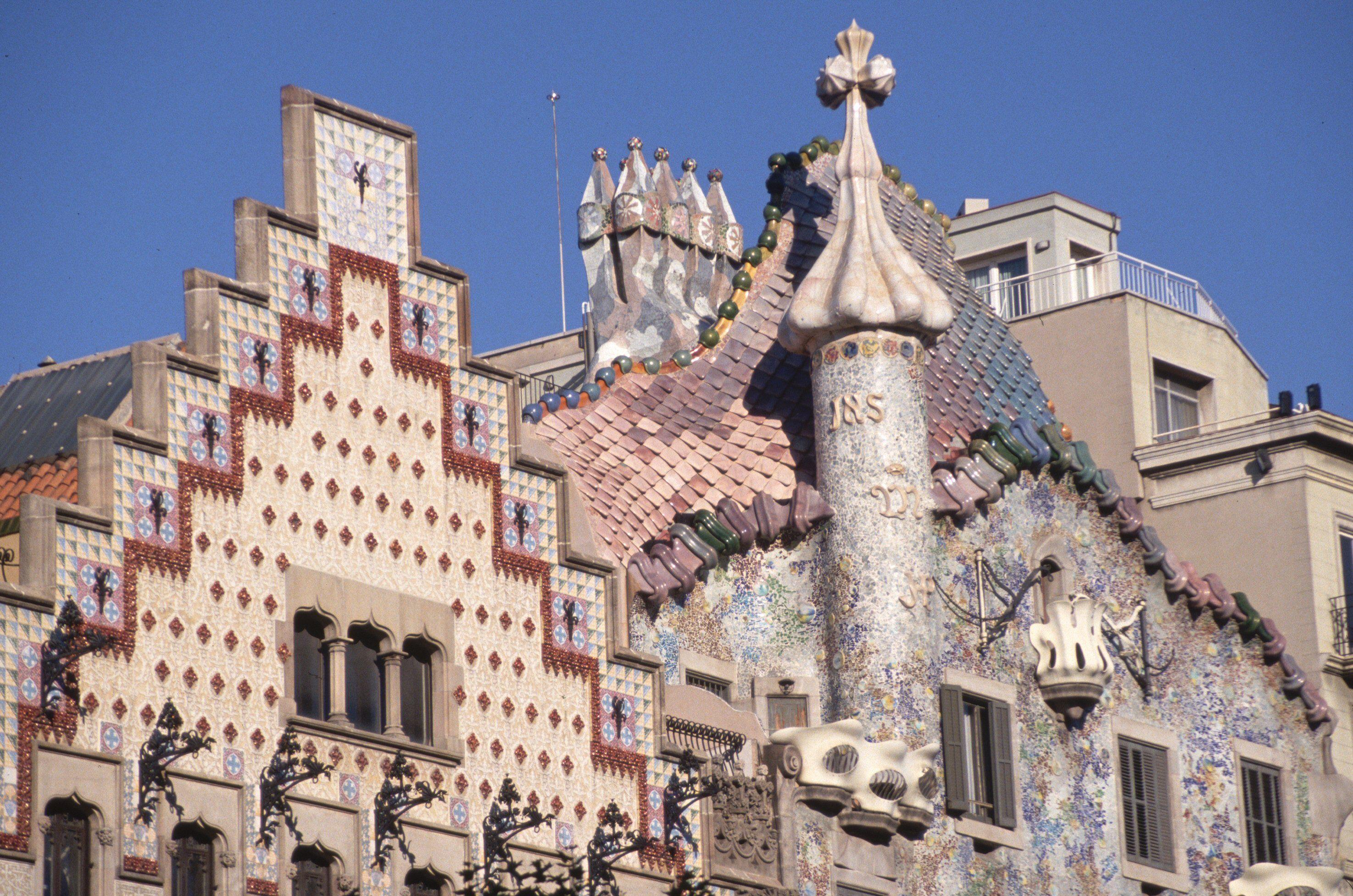 Gables Designed by Antonio Gaudi for Casa Amatller and the Casa Batllo, Barcelona, Spain c. 1905