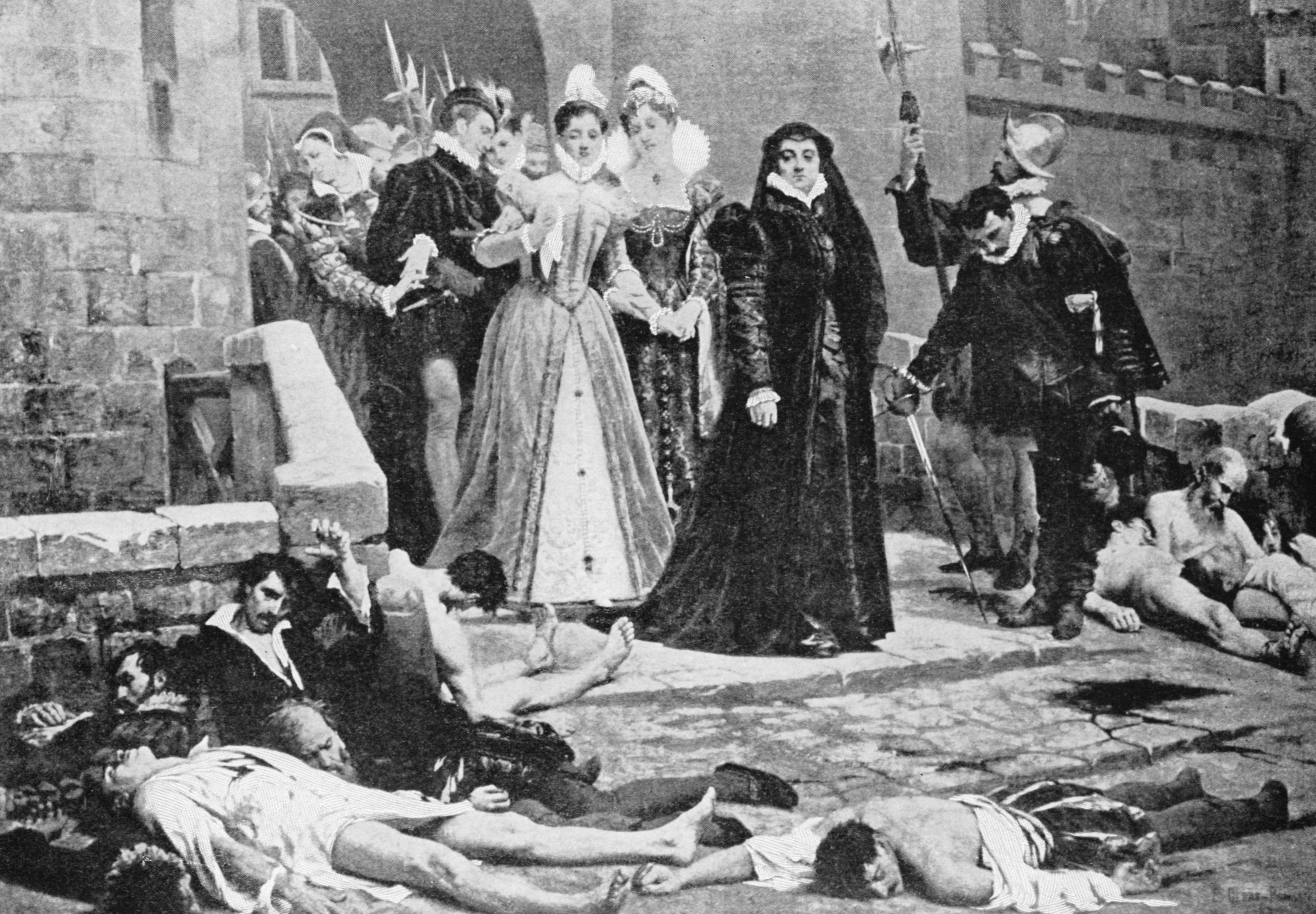 Catherine de Medici surveying the aftermath of the St Bartholomew's Day Massacre, 1572