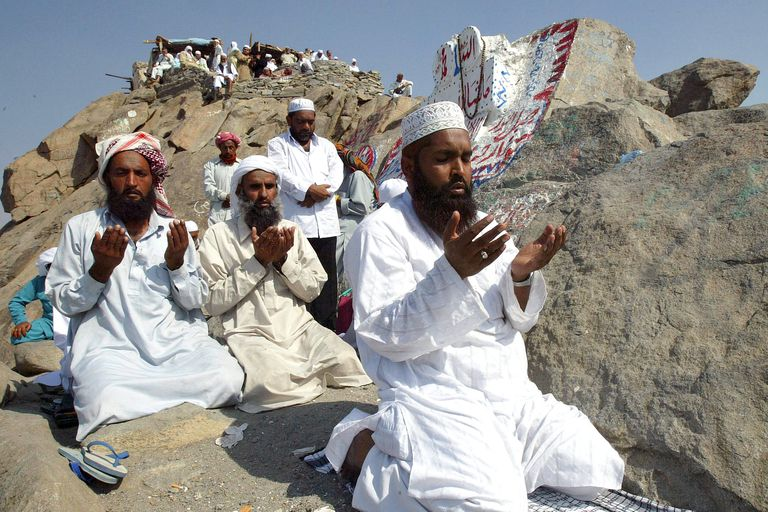 Muslim pilgrims pray adjacent to the Hira cave, where Muhammad received the Koran outside of Mecca