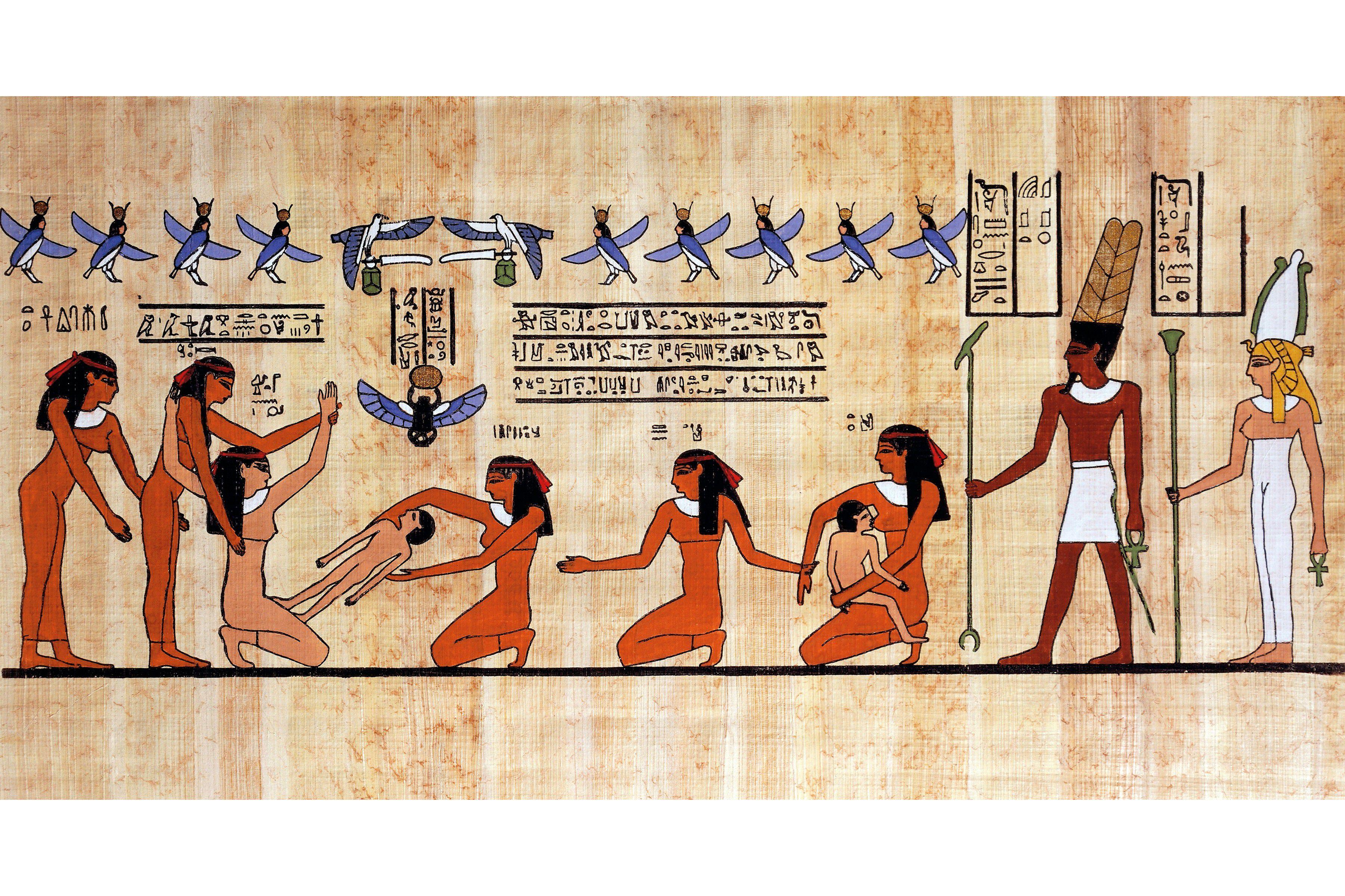 Πάπυρος από την αρχαία Αίγυπτο που απεικονίζει τον τοκετό