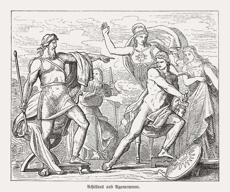 Achilles and Agamemnon fighting