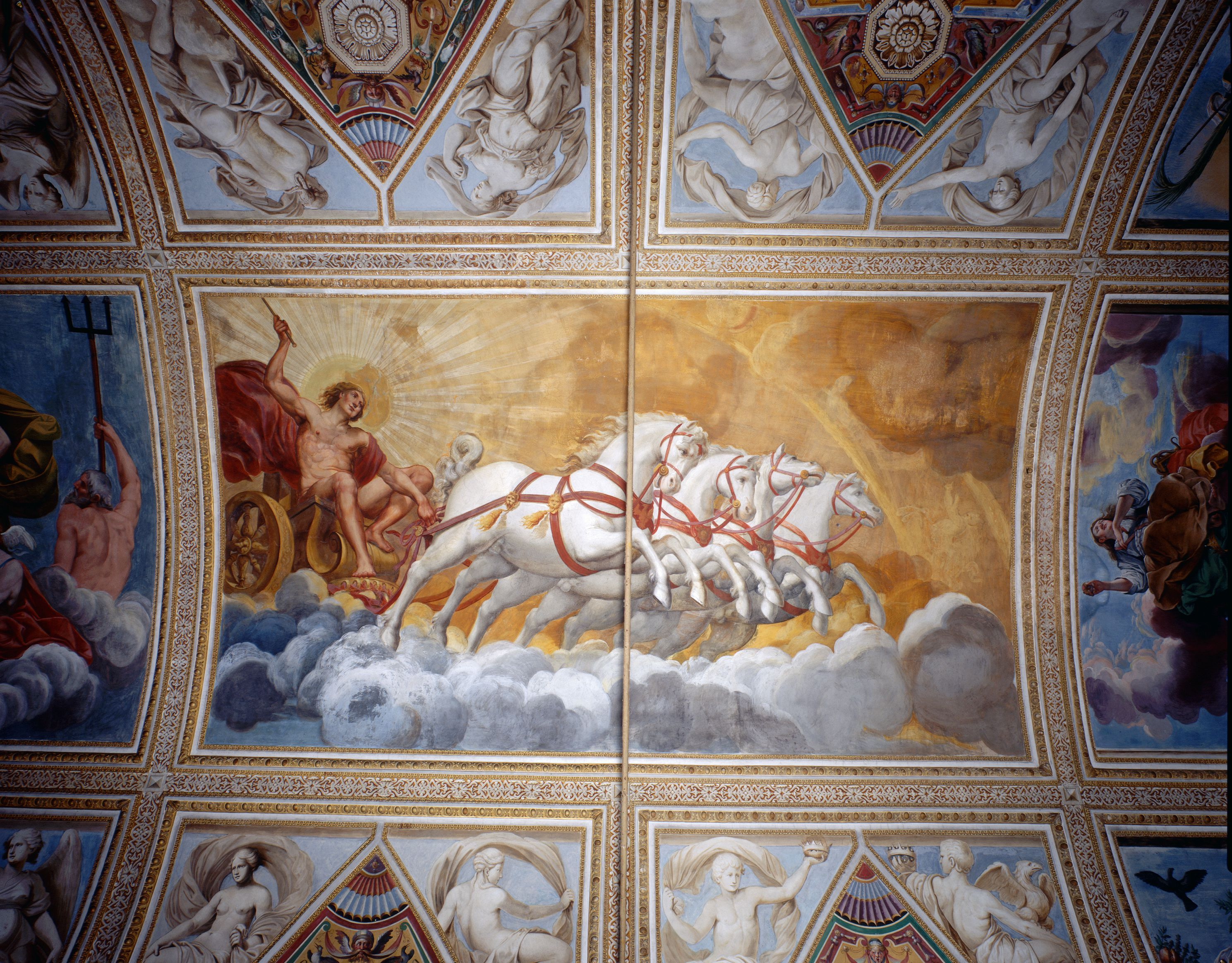 Ceiling mural of Chariot of the Sun Driven by Apollo by Antonio Maria Viani