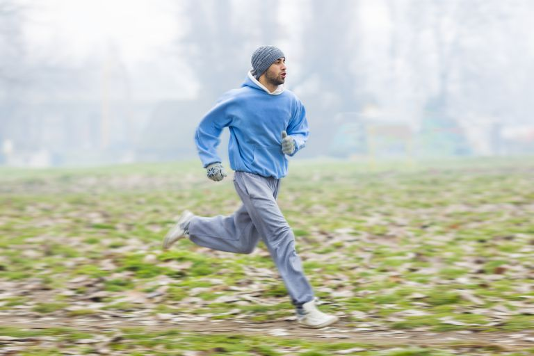 Man running in warm clothes
