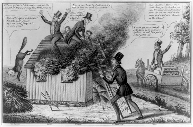 Political cartoon from 1840s depicting Barnburner faction of the Democratic Party