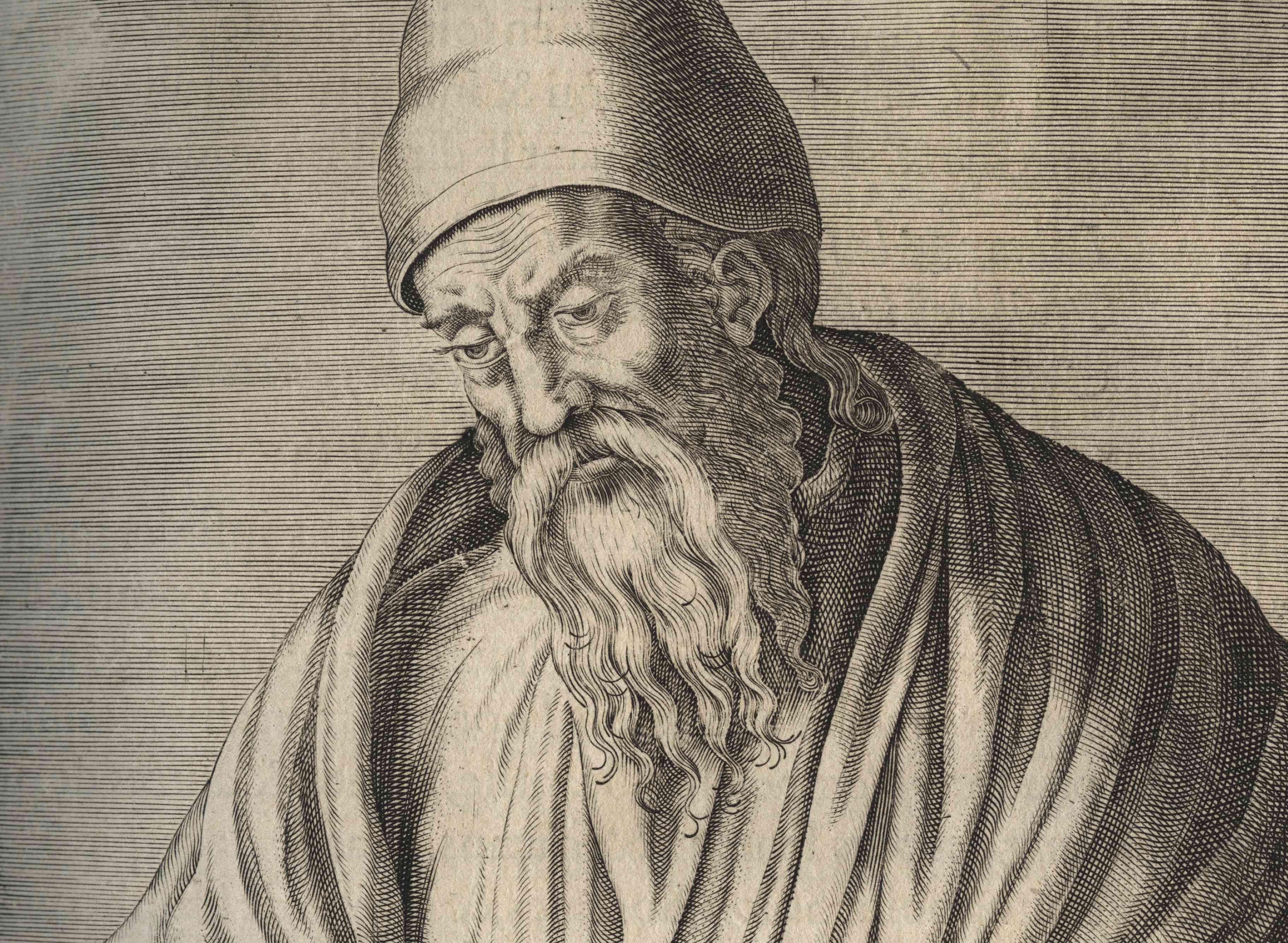 Pencil sketch of Euclid.