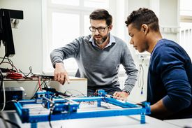 teacher and student, engineering class