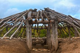 Ohlone Village Pit house in construction