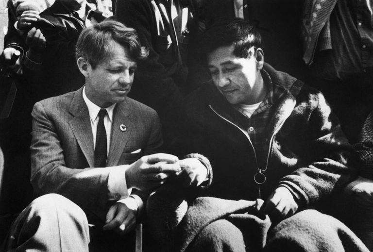 Cesar Chavez and Robert Kennedy Break Bread