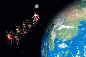 Rudolph leading Santa's sleigh toward Japan