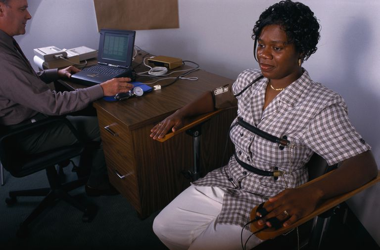 woman taking a lie detector test