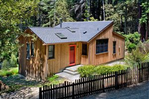 Front of Mendocino County Wooden Cottage Designed by California Architect Cathy Schwabe