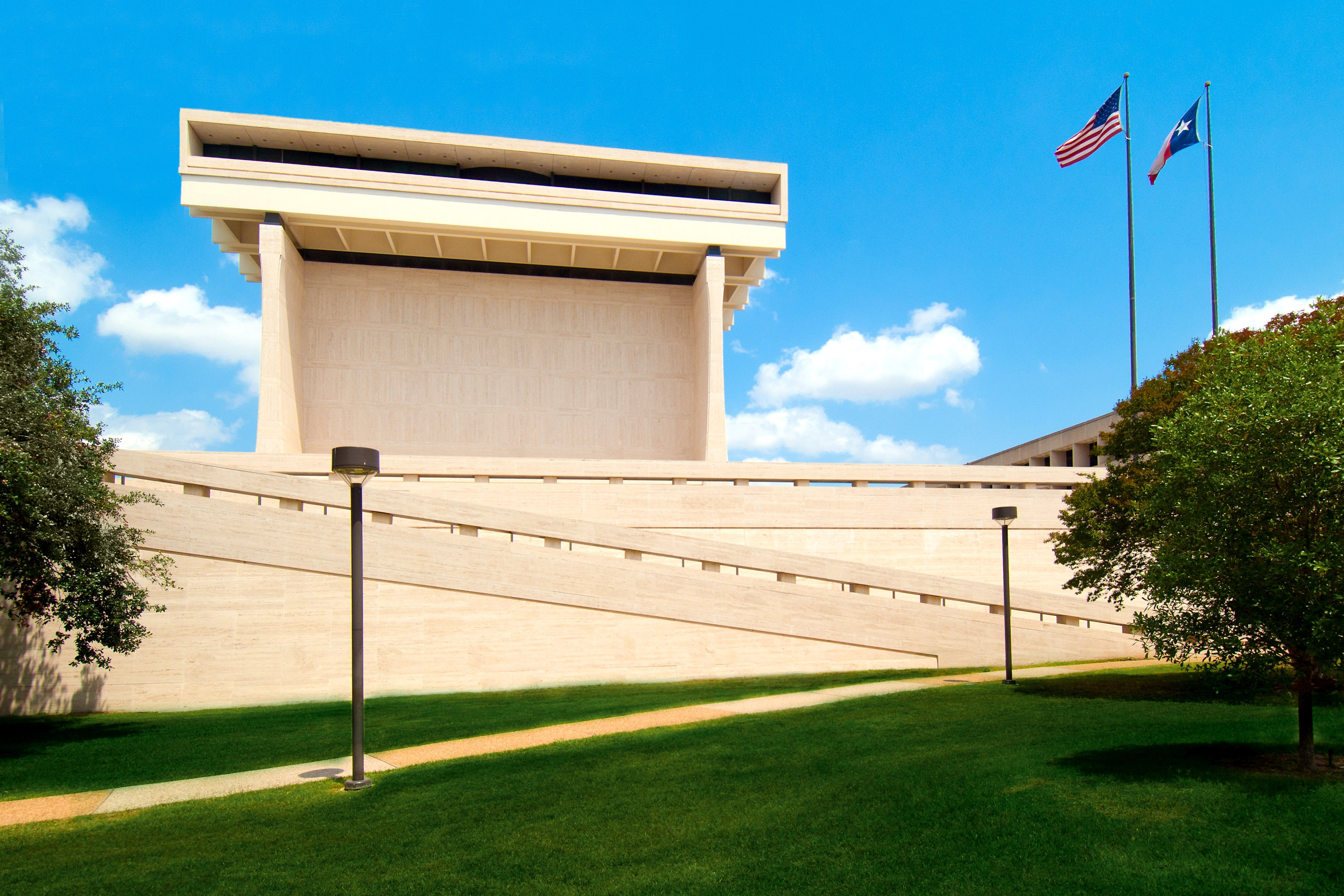 The Lyndon B. Johnson Library and Museum in Texas on a sunny day.