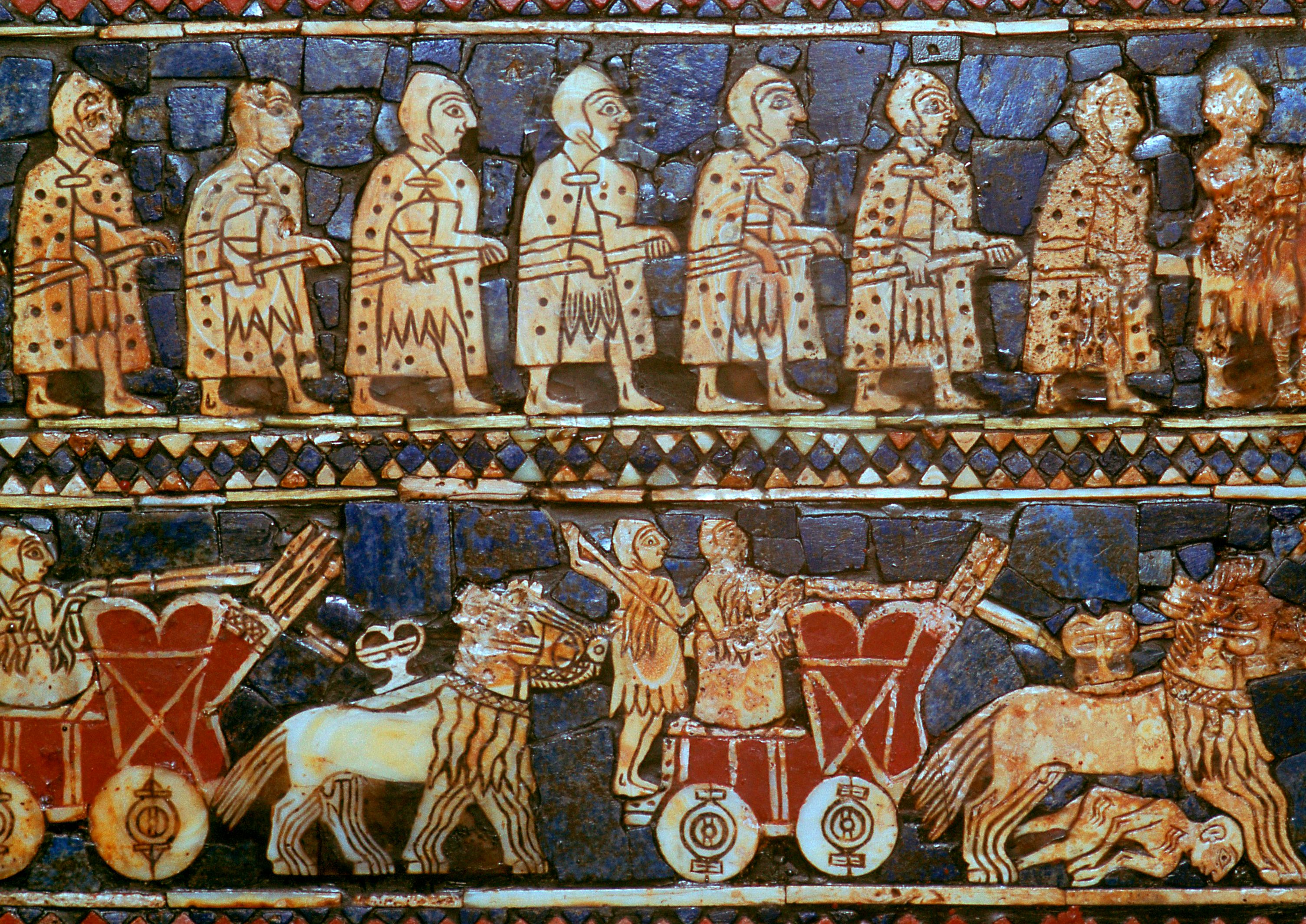 Mosaic of Sumerian soldiers and four-wheeled chariots