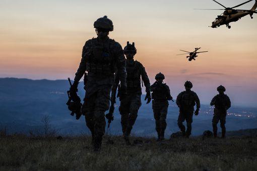 Military mission at twilight.