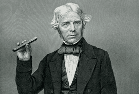 Engraved portrait of Michael Faraday