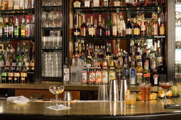 Shelves of spirits in a restaurant bar
