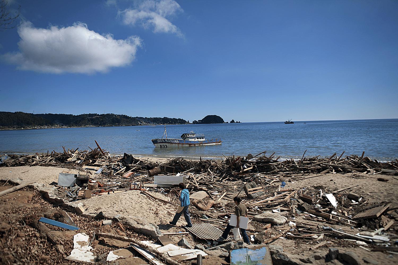 Tsunami damage in Chile.