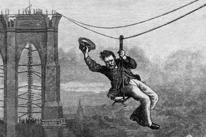 Lithograph of the first crossing of the Brooklyn Bridge