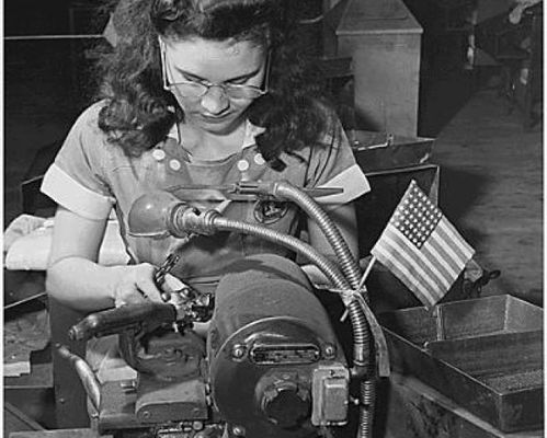 Woman grinding drill points, 1942