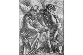 Saint Margaret of Scotland, reading the Bible to her husband, King Malcolm III of Scotland.