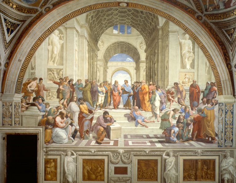 """The School of Athens,"" a painting by Raphael depicting notable Greek philosophers and thinkers."