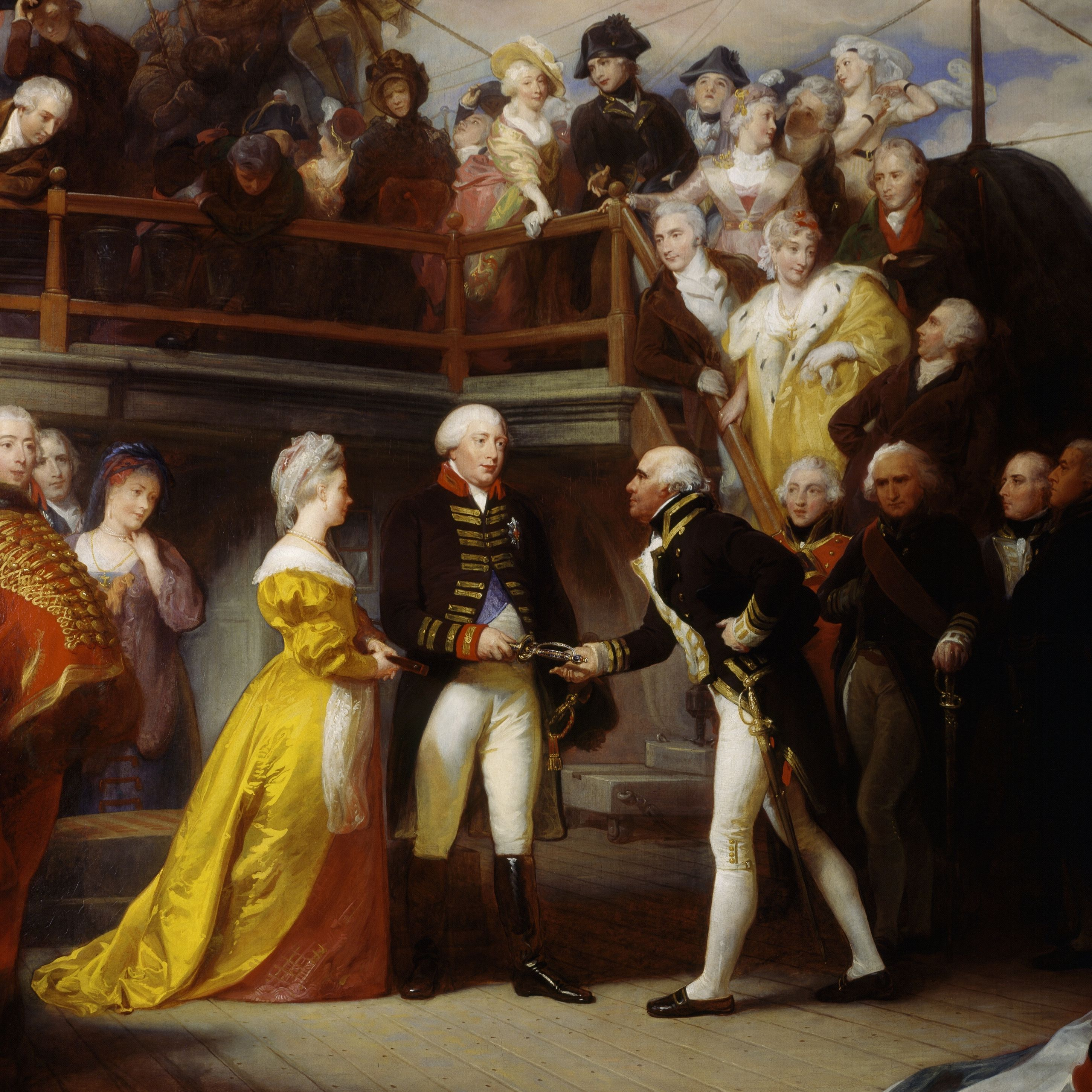 George III visiting Admiral Howe's ship, Queen Charlotte, June 26, 1794, painting by Henry Perronet Briggs (1791 to 1793-1844), oil on canvas, 1625x2555 cm, England, 1828